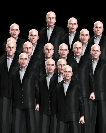grouping: An conceptual image of a background crowed of identical men.