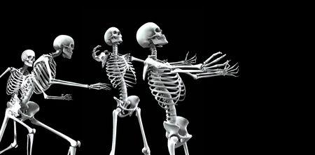 적합: An x ray image of a group of skeletons. A suitable medical or  based image. 스톡 콘텐츠