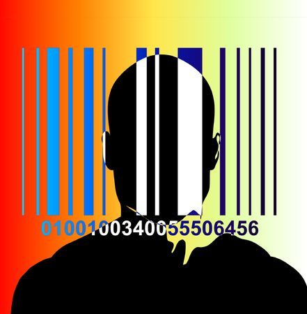 An image of a barcode and a man, a good image for retail and identitie concepts. photo