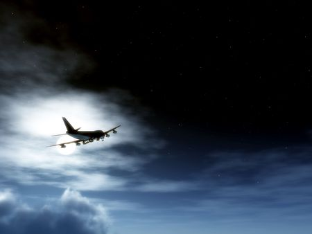 nightime: A plane flying high in the moonlight sky. Stock Photo
