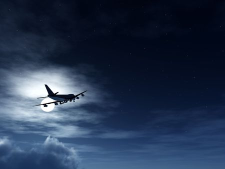 aeronautical: A plane flying high in the moonlight sky. Stock Photo