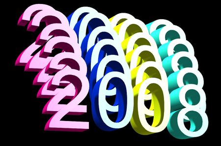 zeros: A conceptual image of the number 2008 that has been duplicated, it represents the new year 2008