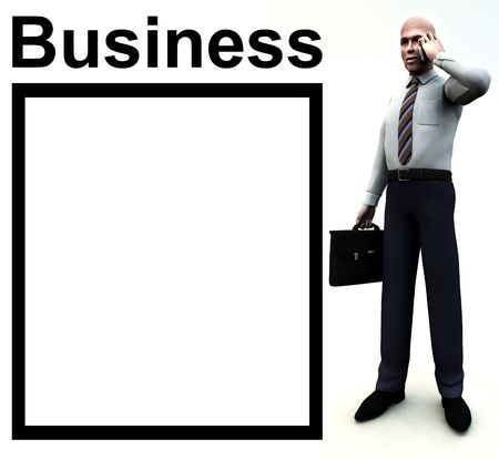 customisable: An conceptual image of a business man posing next to a word, with a customisable empty space next to it. Stock Photo
