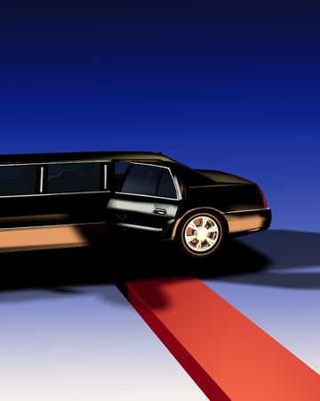 An image of a Limousine with a red carpet, useful for concepts involving fame and movie premieres. Stock Photo - 2441004