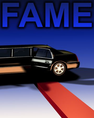 An image of a Limousine with a red carpet, useful for concepts involving fame and movie premieres. photo