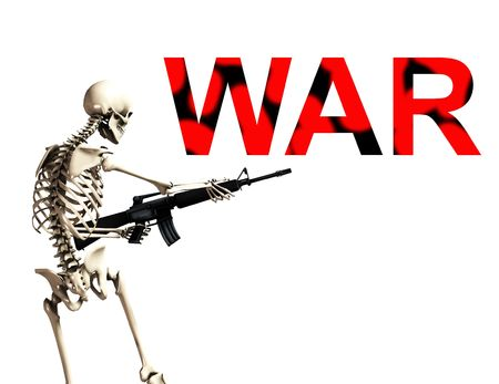 would: An conceptual image of a skeleton with a gun, it would be good to represent concepts of war. Stock Photo
