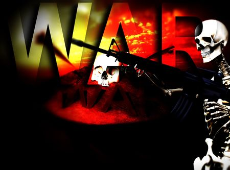 An conceptual image of a skeleton with a gun, it would be good to represent concepts of war. Stock Photo - 2441000