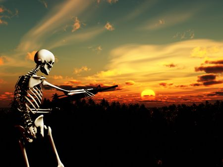 An conceptual image of a skeleton with a gun, it would be good to represent concepts of war. Stock Photo - 2441054