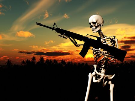 An conceptual image of a skeleton with a gun, it would be good to represent concepts of war. Stock Photo - 2441058