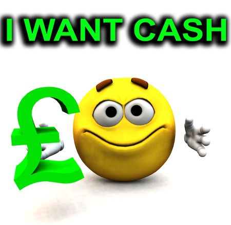greedy: An image of a happy cartoon, who is greedy for cash. Stock Photo