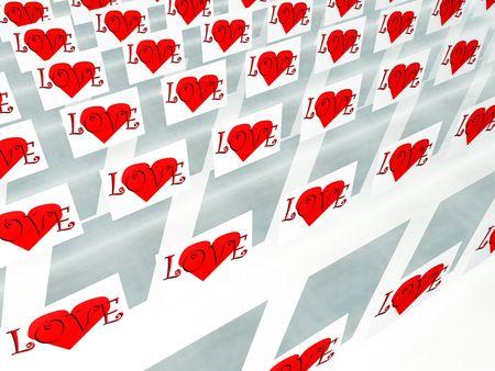 involving: Un'immagine di una serie di simboli su piazze cuore, sarebbe un bene per le immagini e concetti che coinvolgono romantico San Valentino. Archivio Fotografico