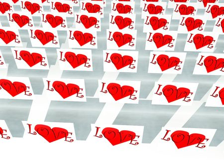 involving: An image of a set of heart symbols on squares, it would be good for images involving romantic concepts and valentines day. Stock Photo
