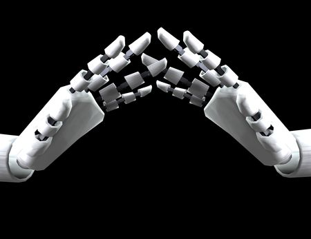 would: A conceptual image of some robot hands, it would be a good image for technology concepts.