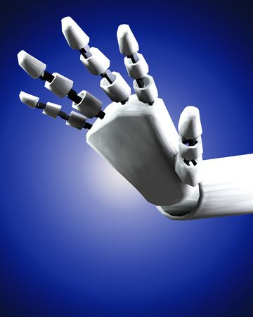 would: A conceptual image of a robot hand, it would be good for technology concepts.