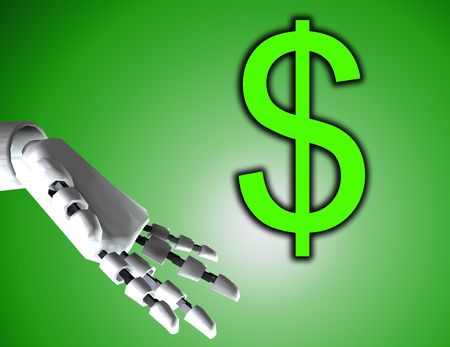automaton: A conceptual image of a robot hand with a dollar, it would be a good image for technology and money concepts. Stock Photo