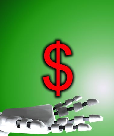A conceptual image of a robot hand with a dollar, it would be a good image for technology and money concepts. photo