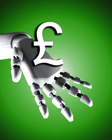 would: A conceptual image of a robot hand with a pound, it would be a good image for technology and money concepts. Stock Photo