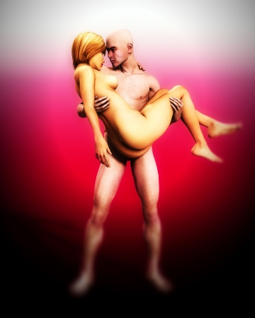 A mildly erotic image of a man and women who are romantically in love. A good concept image for love or valentines day. photo