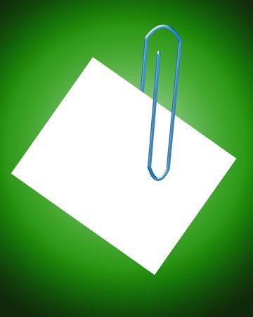 Una imagen de un clip que es la celebración de una hoja de papel en blanco, que puede poner sus propios mensajes sobre. Foto de archivo - 2561681