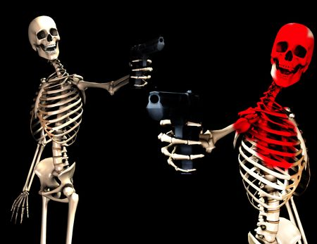 An image of some skeletons with some  firearms, a possible interesting conceptual modern version of death. Or a medical image of  Skeletons in action. photo