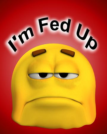 fedup: A conceptual image of a cartoon face that is fed up and sorrowful.