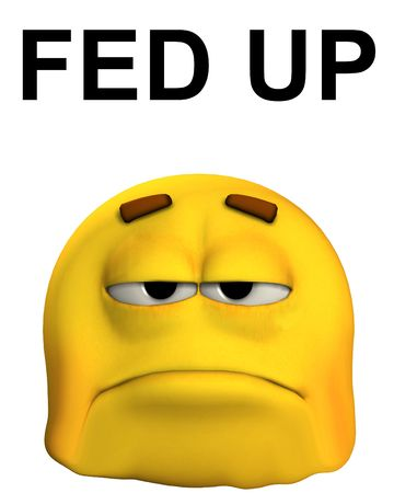 A conceptual image of a cartoon face that is fed up and sorrowful.