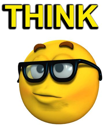 A conceptual image of a cartoon face, which represents being a smart or clever geek. It also has the descriptive word think.