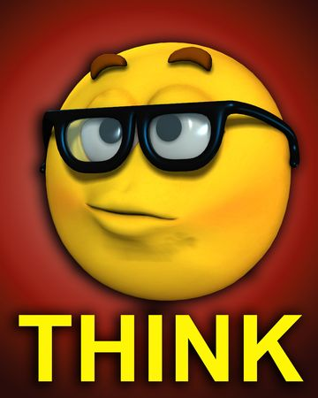 A conceptual image of a cartoon face, which represents being a smart or clever geek. It also has the descriptive word think. photo