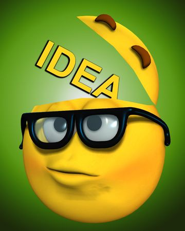 educated: An image of a cartoon face which represents being a geek. It is also a conceptual image about thinking.