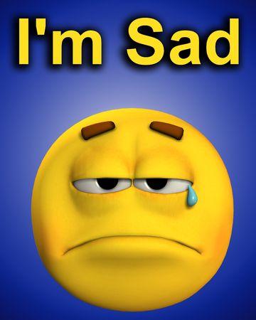 A conceptual image of a very sad cartoon face. photo