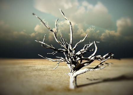 Een beeld van een dode boom binnen een dorre woestijn landschap. Stockfoto - 2676464