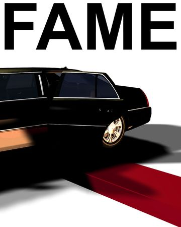 An image of a Limousine with a red carpet, useful for concepts involving fame and movie premieres. Stock Photo