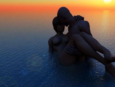 nude outdoors: A mildly erotic image of a man and women who are romantically in love in the sea. A good concept image for love or valentines day. Stock Photo