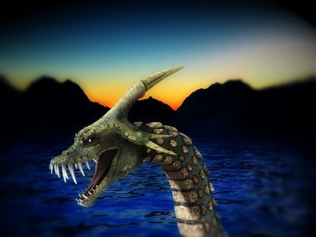 sea monster: An image of a scary snake like sea monster, it would be good for fear and  concepts. Stock Photo
