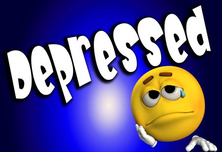 glum: A conceptual image of a cartoon face that is either very depressed, sad, or suicidal.