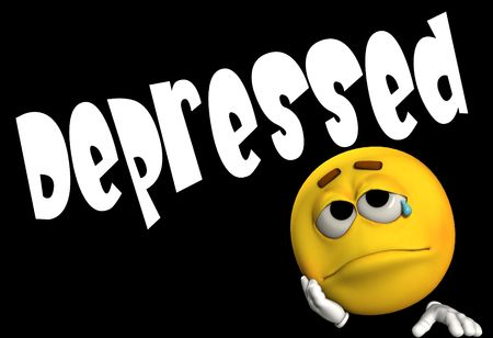 A conceptual image of a cartoon face that is either very depressed, sad, or suicidal. photo