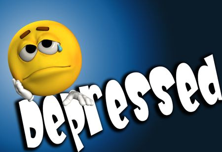 disheartened: A conceptual image of a cartoon face that is either very depressed, sad, or suicidal.