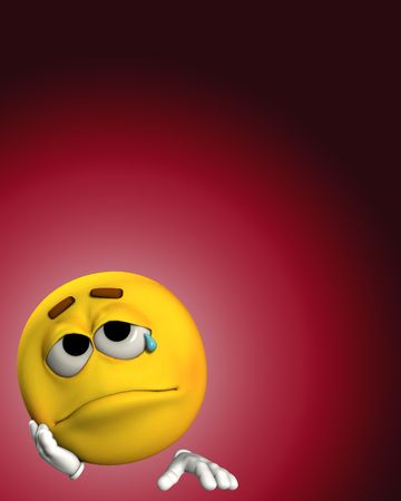 A conceptual image of a cartoon face that is very sad. photo