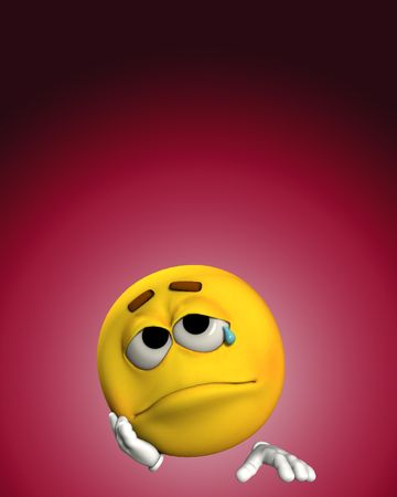 miserable: A conceptual image of a cartoon face that is very sad.