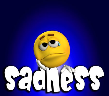 cheerless: A conceptual image of a cartoon face that is very sad.