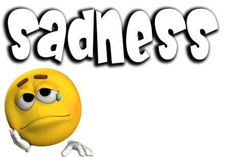 sadness: A conceptual image of a cartoon face that is very sad.