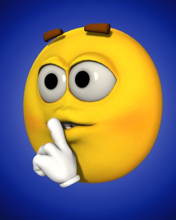 A conceptual image of a cartoon face that is telling people to be quiet.
