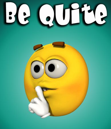 A conceptual image of a cartoon face that is telling people to quite and give up. Stock Photo - 2745366