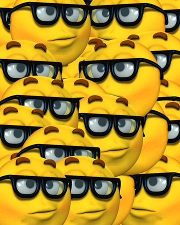 A conceptual image of a lot cartoon faces, which represents being a smart or clever geek.  photo
