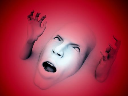 wail: A conceptual image of a face that could be in great pain or could be screaming in fear, it would be a good  image.