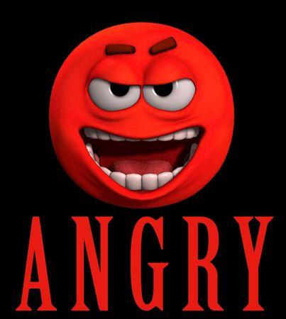 annoyance: A conceptual image of a cartoon face that is very angry.