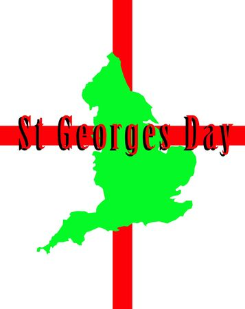 A conceptual image of the map of England against the English flag, mainly this image is aimed at use for St Georges day. photo