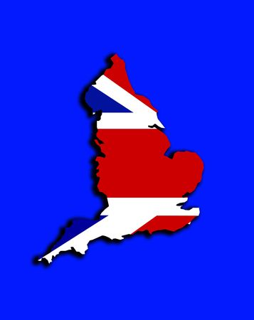 brit: A conceptual image of the map of England. With the Union Jack flag in the background.