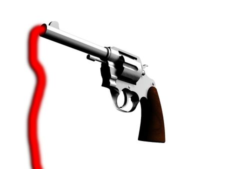criminality: An image of a gun and some blood. It would be a good concept image for criminality and violence.
