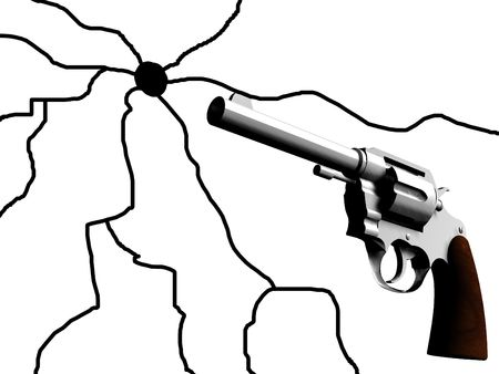 criminality: An image of a gun that has caused a crack. It would be a good concept image for criminality. Stock Photo